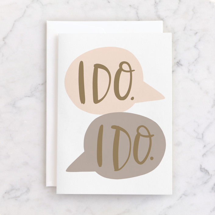 """""""I Do Talk Bubbles"""" - Individual Wedding Greeting Cards in Blush by Alicia Schultz."""