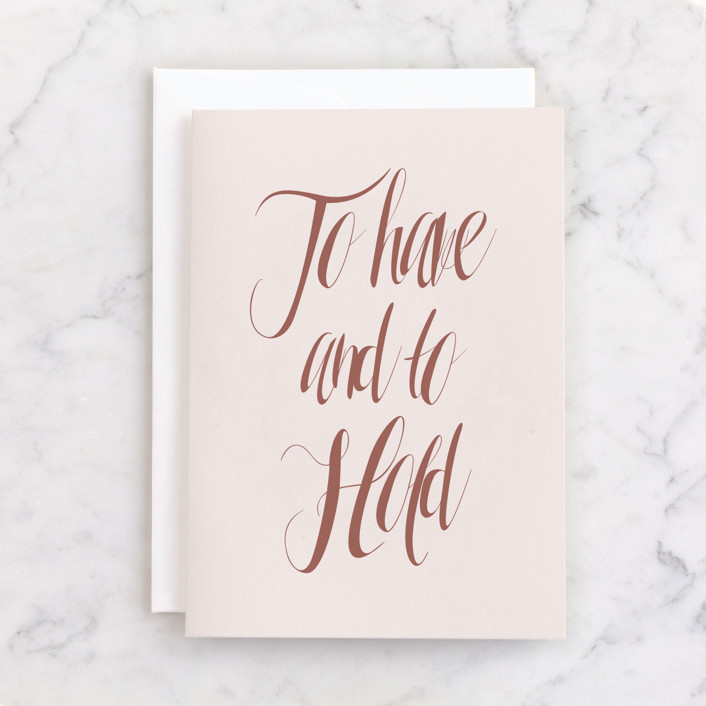 """""""To Have and To Hold"""" - Individual Wedding Greeting Cards in Blush by Kasia Labocki."""