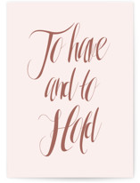 This is a pink wedding card by Kasia Labocki called To Have and To Hold with standard printing on signature in greeting cards.