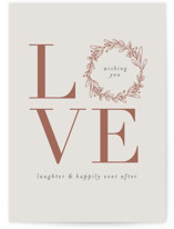 This is a grey wedding card by Shirley Lin Schneider called Love and Laughter with standard printing on signature in greeting cards.