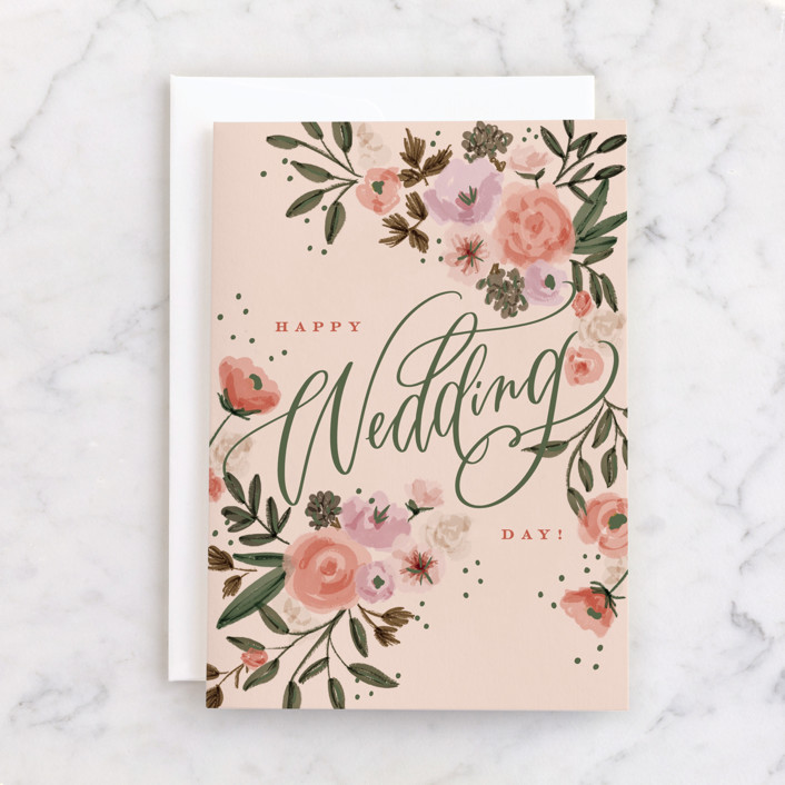 """Floral Wedding"" - Individual Wedding Greeting Cards in Rose by Erin German."