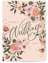 This is a pink wedding card by Erin German called Floral Wedding with standard printing on signature in greeting cards.