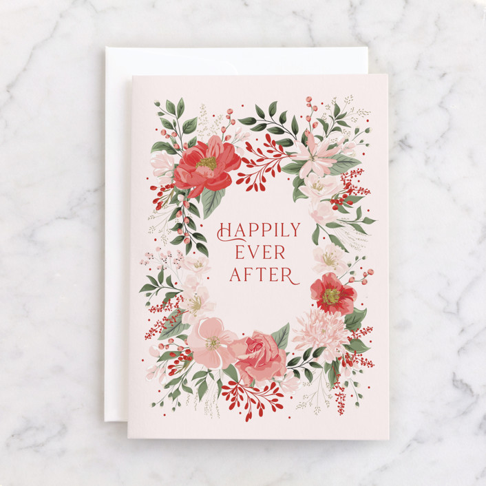 """""""happily"""" - Individual Wedding Greeting Cards in Rose by Susan Moyal."""