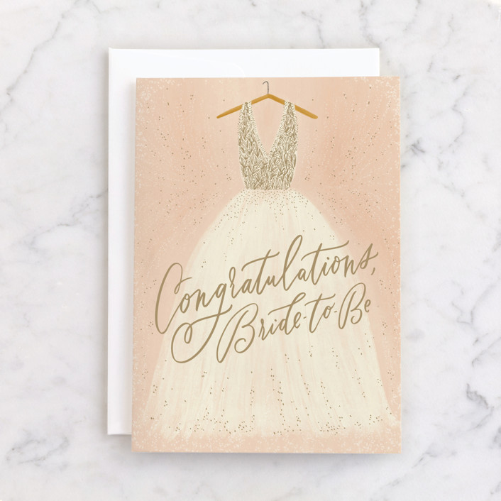 """""""Bride To Be"""" - Individual Wedding Greeting Cards in Blush by Julie Murray."""