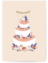 This is a pink wedding card by Haley Warner called Wedding Cake Congrats with standard printing on signature in greeting cards.