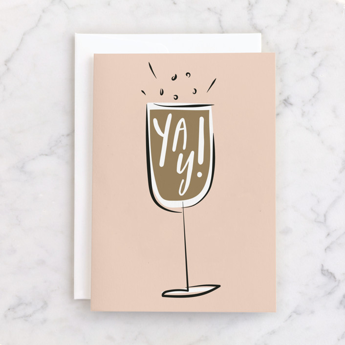 """""""Prosecco"""" - Individual Wedding Greeting Cards in Blush by Chryssi Tsoupanarias."""