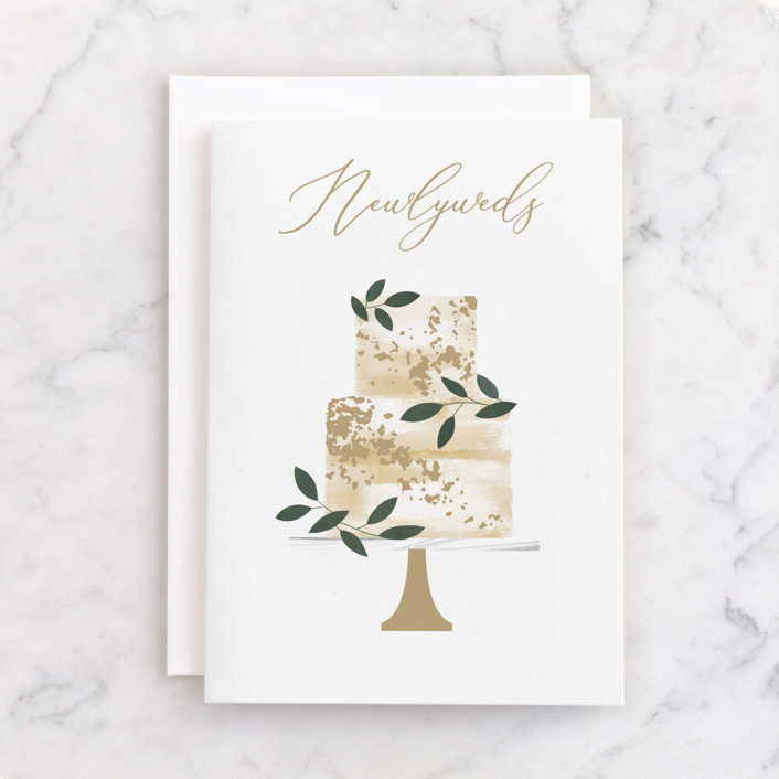 """""""Newlyweds Cake"""" - Individual Wedding Greeting Cards in Eggshell by Kelly Williams."""