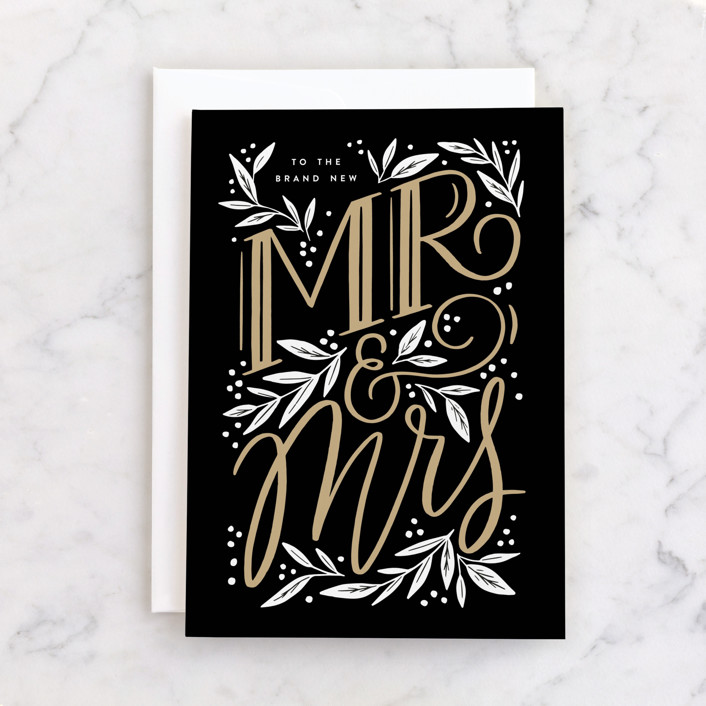 """""""Brand New Mr. & Mrs."""" - Individual Wedding Greeting Cards in Ink by Alethea and Ruth."""