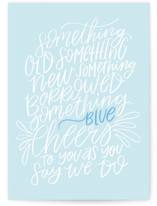This is a blue wedding card by Ally Madison called Borrowed and Blue with standard printing on signature in greeting cards.