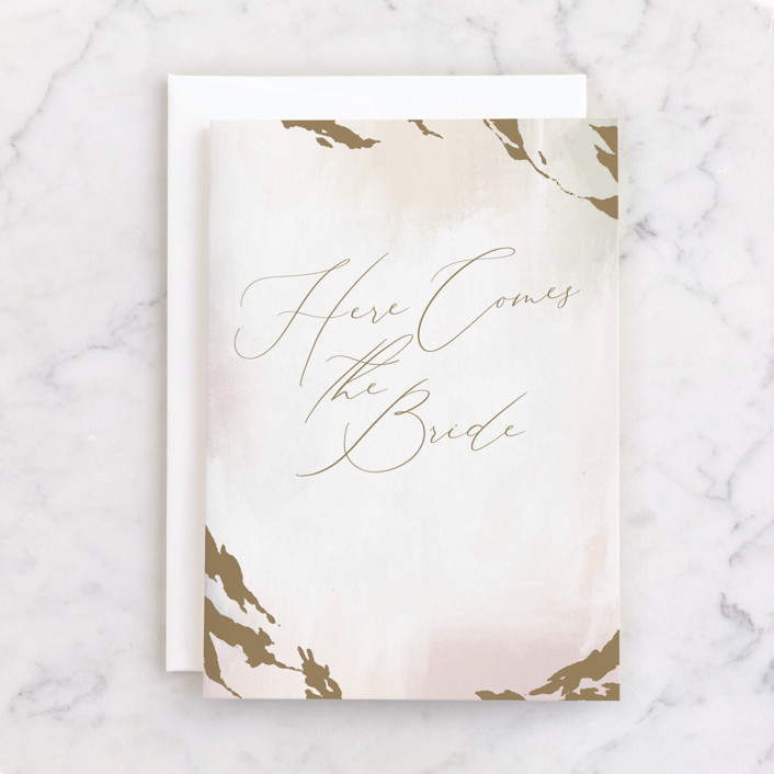 """""""Here Comes the Bride"""" - Individual Wedding Greeting Cards in Champagne by Nicoletta Savod."""