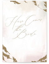 This is a beige wedding card by Nicoletta Savod called Here Comes the Bride with standard printing on signature in greeting cards.