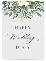 This is a grey wedding card by Christy Hy Lee called Modern Floral with standard printing on signature in greeting cards.