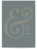 This is a grey wedding card by Amy Payne called Floral Ampersand with standard printing on signature in greeting cards.