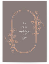 This is a brown wedding card by Susan Zinader called Wildflowers with standard printing on signature in greeting cards.
