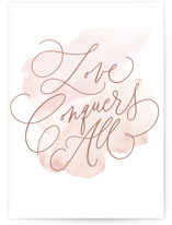 This is a pink wedding card by Everett Paper Goods called Love Conquers All with standard printing on signature in greeting cards.