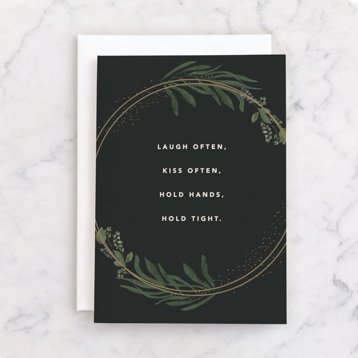 """""""Best Advice"""" - Individual Wedding Greeting Cards in Evergreen by Creo Study."""