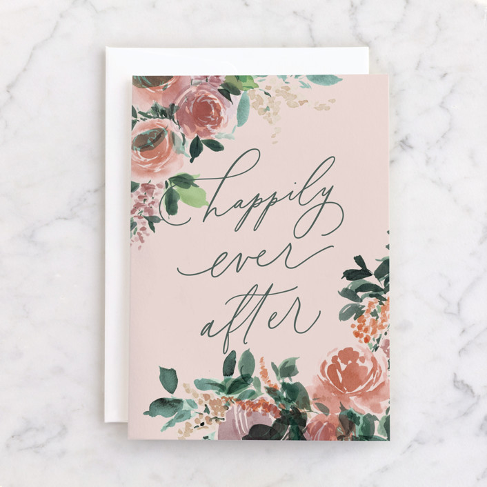 """""""Lush Bouquet"""" - Individual Wedding Greeting Cards in Rose by Everett Paper Goods."""
