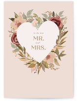 This is a pink wedding card by Creo Study called New Mr and Mrs with standard printing on signature in greeting cards.