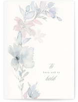 This is a blue wedding card by Phrosne Ras called floral bow with standard printing on signature in greeting cards.