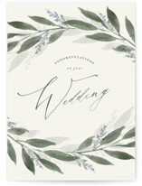 This is a green wedding card by Stacey Meacham called Garden branches with standard printing on signature in greeting cards.
