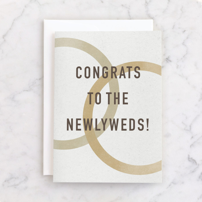 """Newlyweds"" - Individual Wedding Greeting Cards in Golden by Sumak Studio."