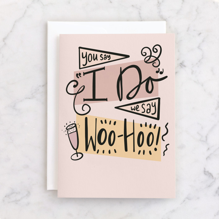 """Woo-hoo!"" - Individual Wedding Greeting Cards in Blush by Catherine Culvenor."
