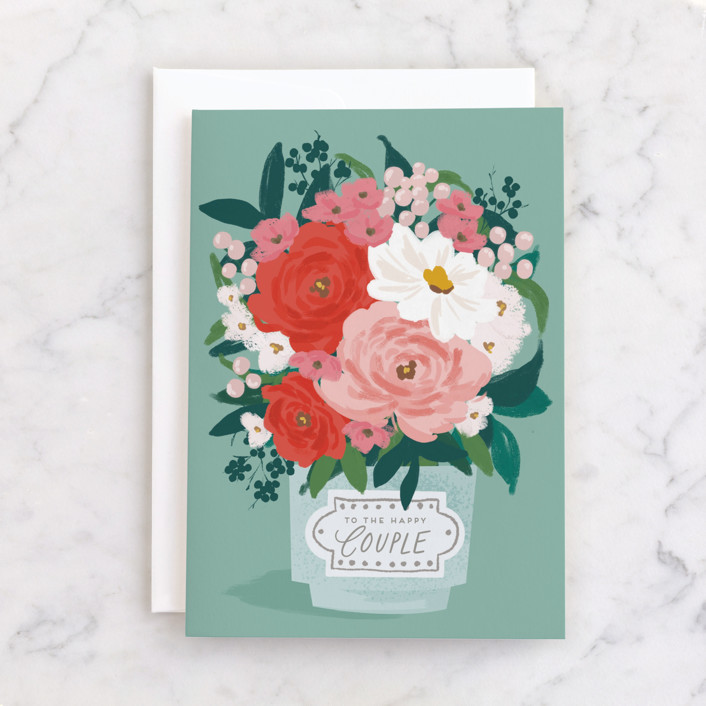 """""""Big Bouquet"""" - Individual Wedding Greeting Cards in Garden by Everett Paper Goods."""