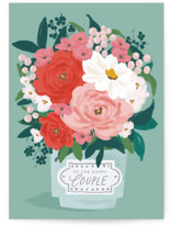 This is a green wedding card by Everett Paper Goods called Big Bouquet with standard printing on signature in greeting cards.