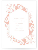 This is a pink wedding card by Kristie Kern called Peony Love with standard printing on signature in greeting cards.