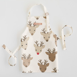 This is a brown kids apron by Jessie Steury called Red nose.