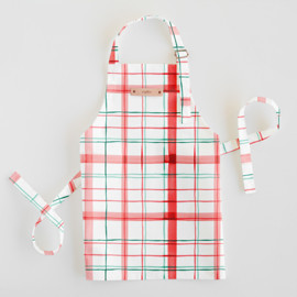 This is a red kids apron by Creo Study called Fun plaid.