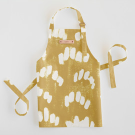 This is a yellow kids apron by Tishya Oedit called Abstract Texture in standard.