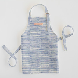 This is a blue kids apron by Alethea and Ruth called Dashed Stripes in standard.