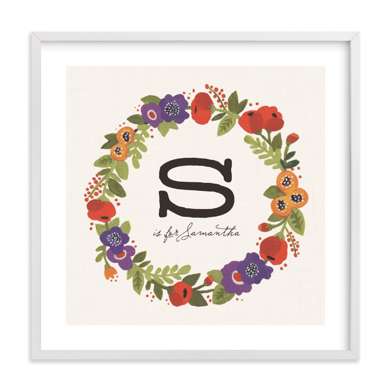 """""""Garden Wreath"""" - Children's Custom Art Print by Kristen Smith in beautiful frame options and a variety of sizes."""
