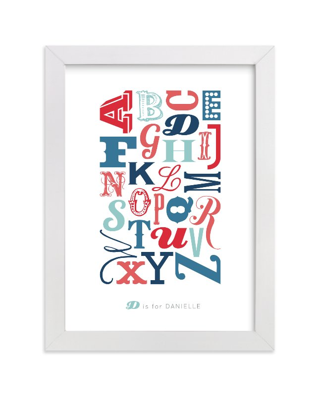 This is a red personalized art for kid by Blixa 6 Studios called Know Your Letters with standard.