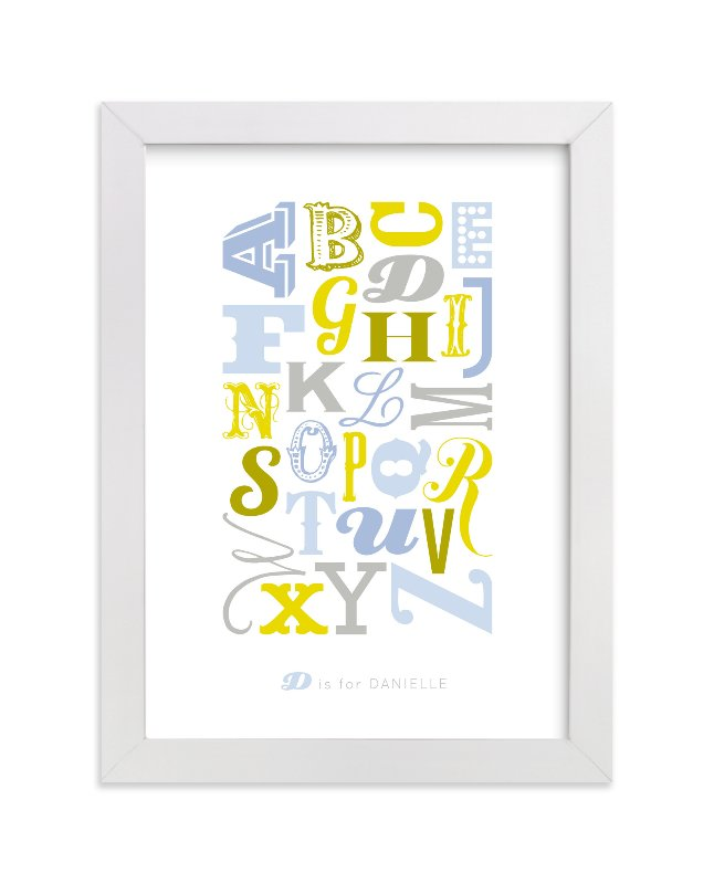 This is a blue personalized art for kid by Blixa 6 Studios called Know Your Letters with standard.