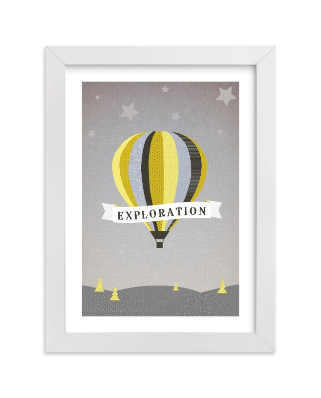 This is a grey personalized art for kid by Serenity Avenue called Exploration Destination with standard.