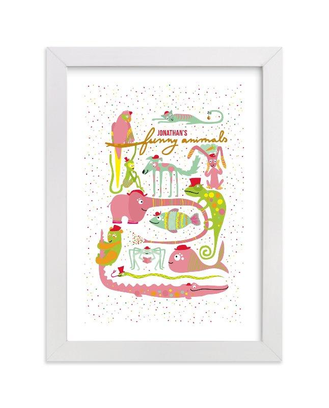 This is a pink personalized art for kid by Tereza Šašinková Lukášová called Jonathan's Funny Animals with standard.