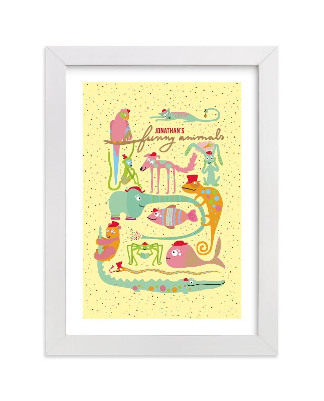 This is a yellow personalized art for kid by Tereza Šašinková Lukášová called Jonathan's Funny Animals with standard.
