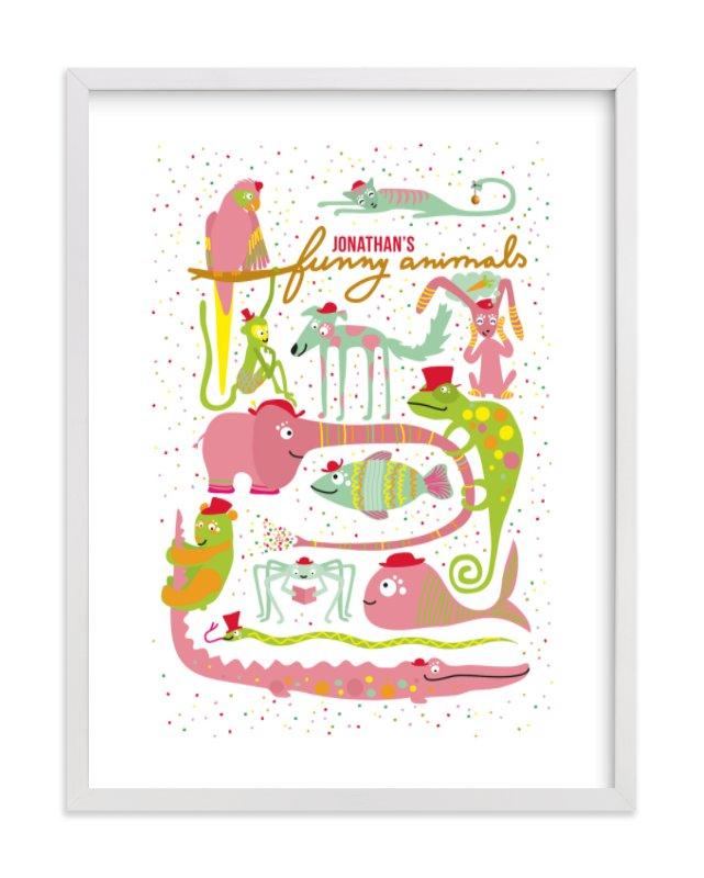 """""""Jonathan's Funny Animals"""" - Children's Custom Art Print by Tereza Šašinková Lukášová in beautiful frame options and a variety of sizes."""