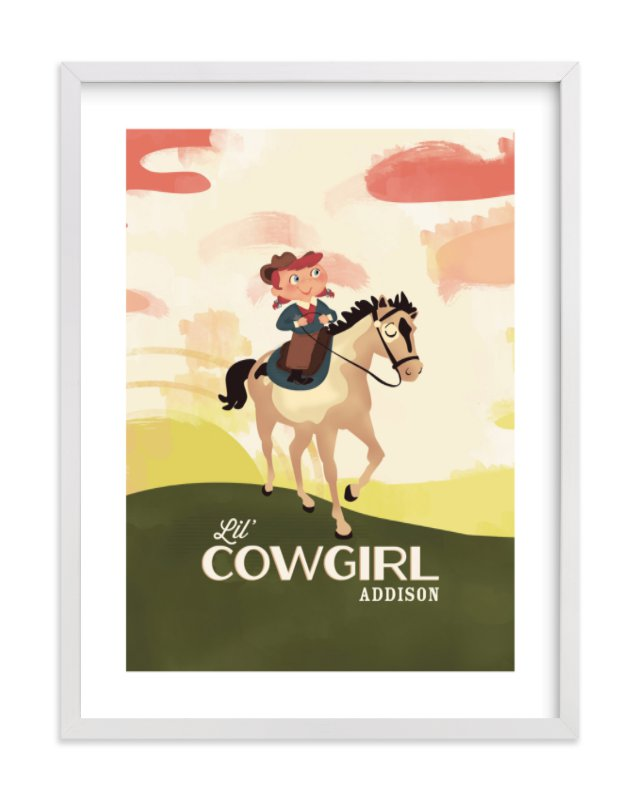 """""""Lil' Cowgirl"""" - Children's Custom Art Print by Pistols in beautiful frame options and a variety of sizes."""