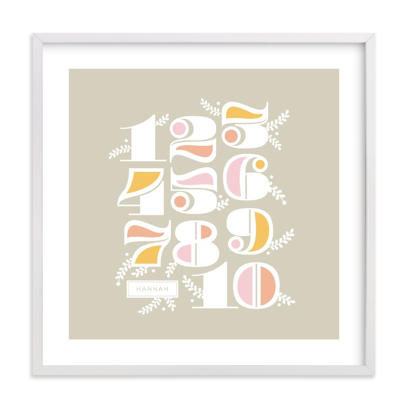 """Vining Numerals"" - Children's Custom Art Print by Alaina Cherup in beautiful frame options and a variety of sizes."