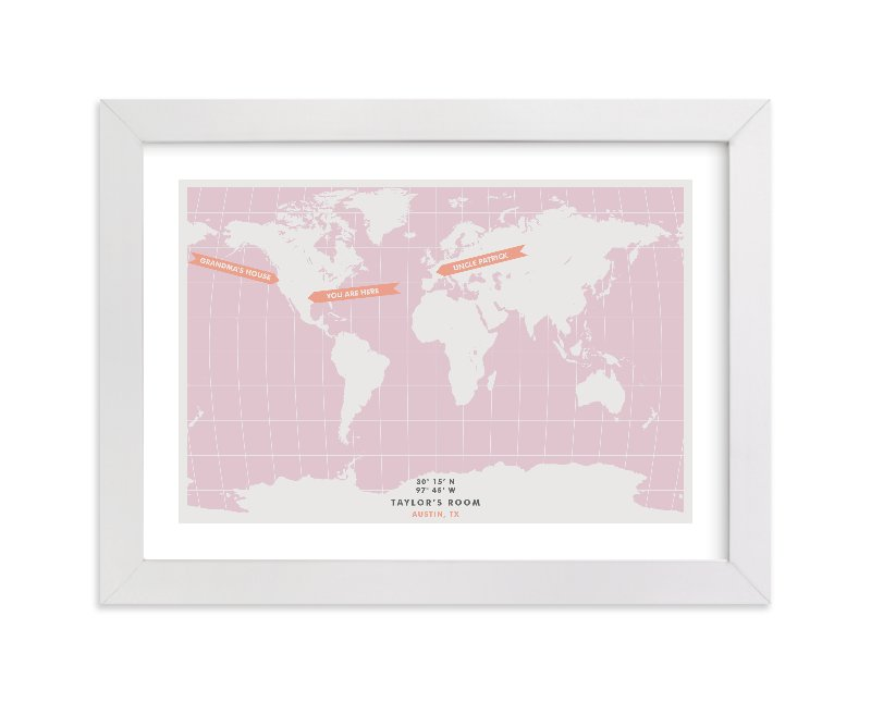 This is a pink personalized art for kid by Michelle Roman called You are Here with standard.