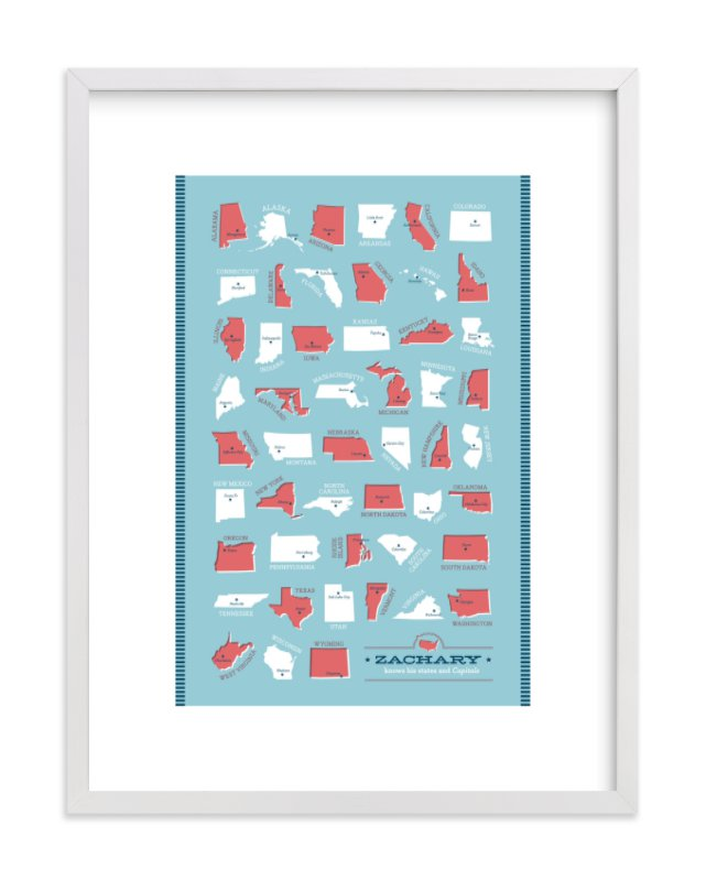 """""""States and Capitals"""" - Children's Custom Art Print by Ann Gardner in beautiful frame options and a variety of sizes."""