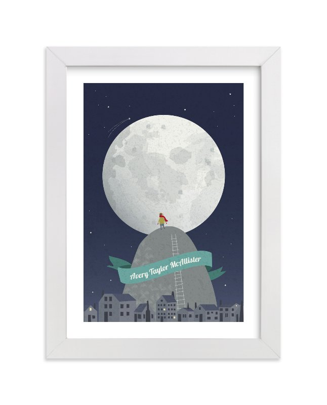 """""""I See the Moon"""" - Children's Custom Art Print by Kayla King in beautiful frame options and a variety of sizes."""