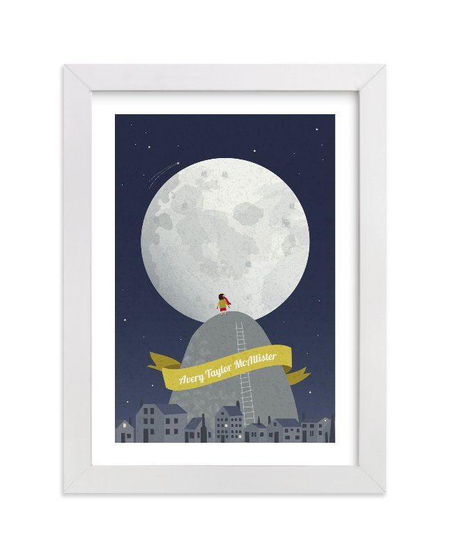 This is a yellow personalized art for kid by Kayla King called I See the Moon with standard.