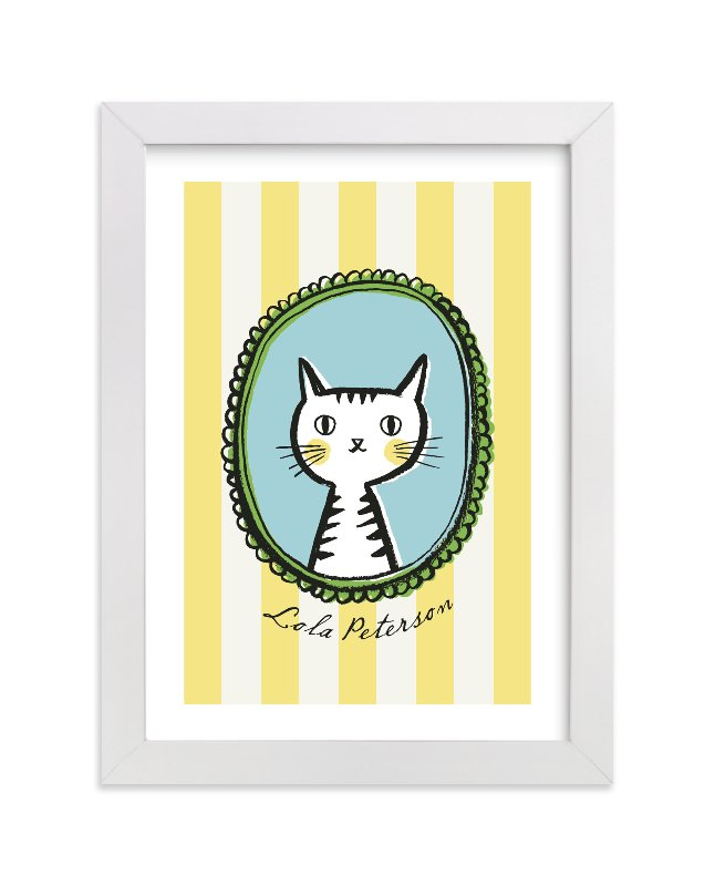 This is a yellow personalized art for kid by cambria called Whiskers with standard.