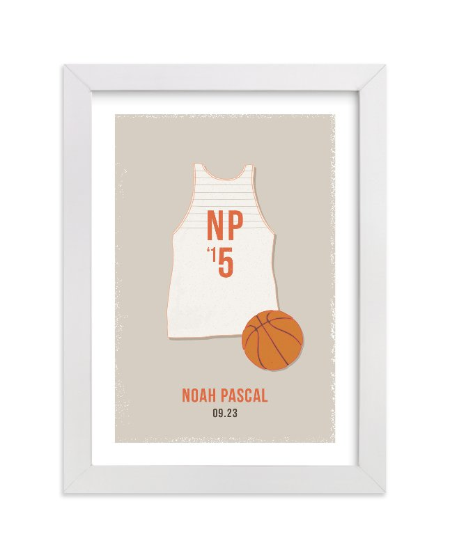 This is a orange personalized art for kid by Tyler Tea called B-Ball with standard.