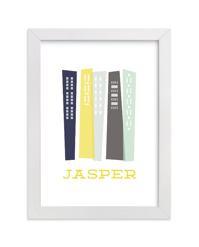 """Skyscrapers"" - Children's Custom Art Print by Alston Wise in beautiful frame options and a variety of sizes."