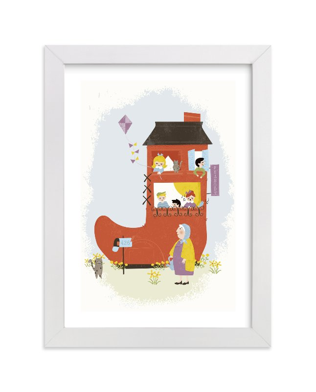 """The Old Woman in the Shoe"" - Children's Custom Art Print by Pistols in beautiful frame options and a variety of sizes."